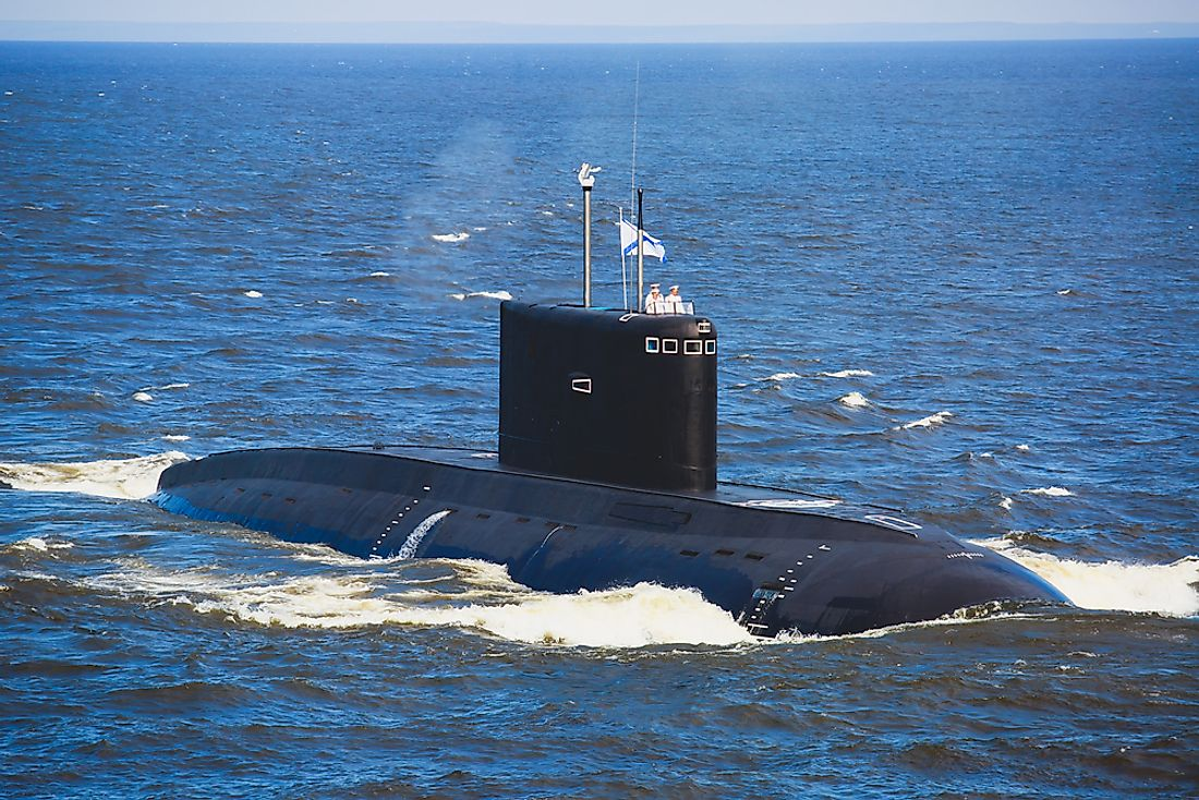 A Russian military submarine.