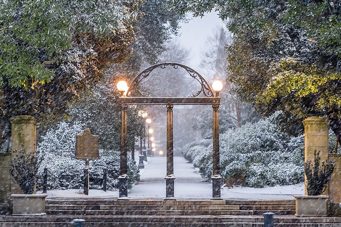 Snow at the University of Georgia in Georgia.