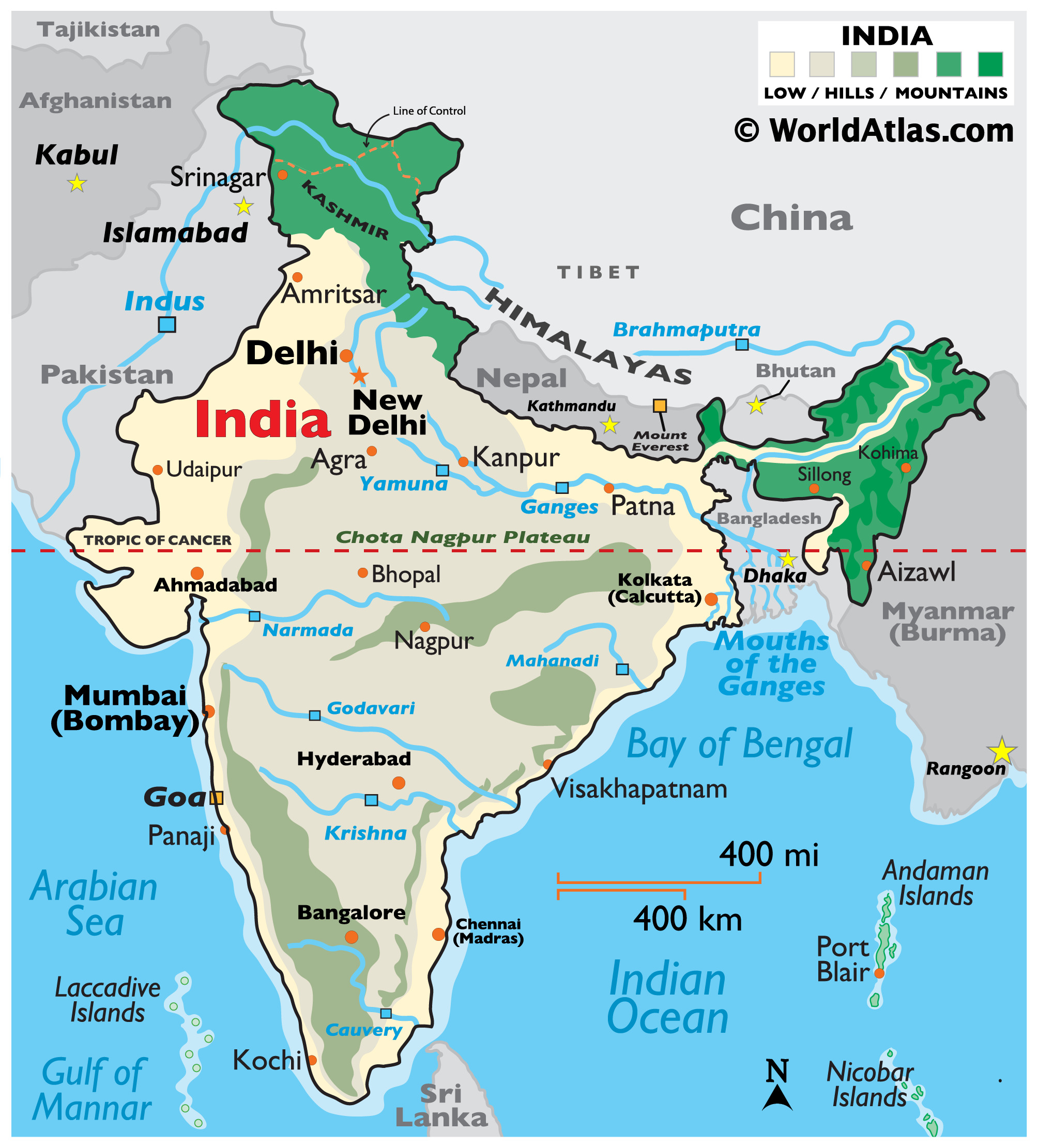 Physical map of India showing relief, mountain ranges, plateaus, major rivers, international borders, islands, important cities, and more.