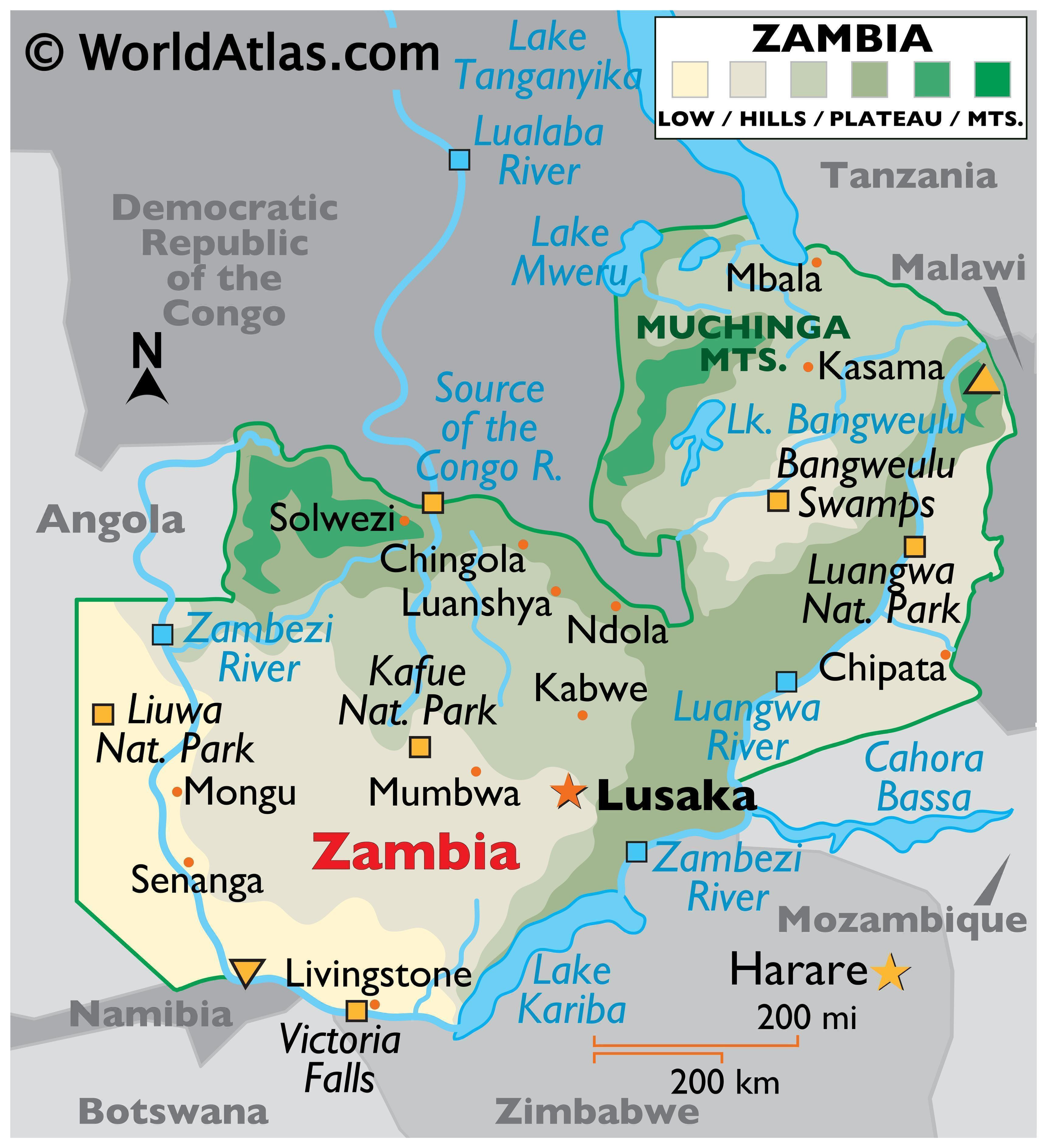 Physical Map of Zambia. It shows the physical features of Zambia including the major mountain ranges, rivers, lakes, and other natural features.