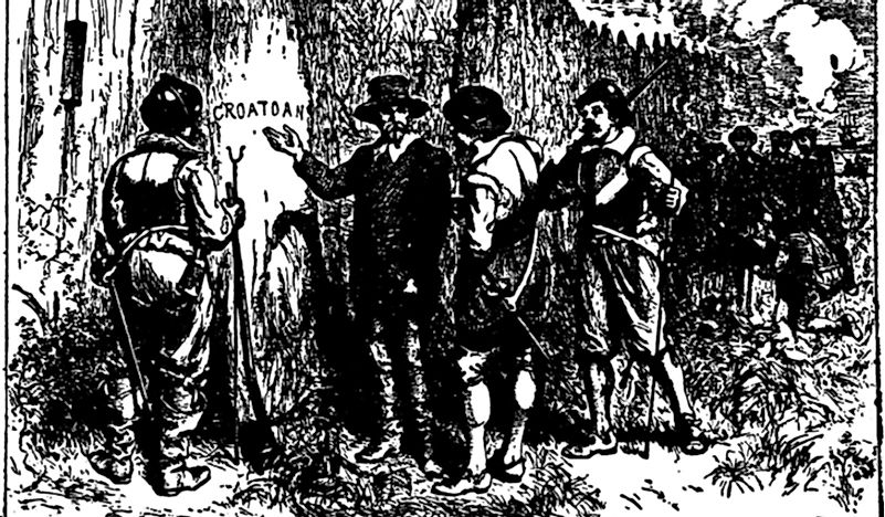 A drawing depicting the discovery of the cryptic words on a tree in Roanoke.