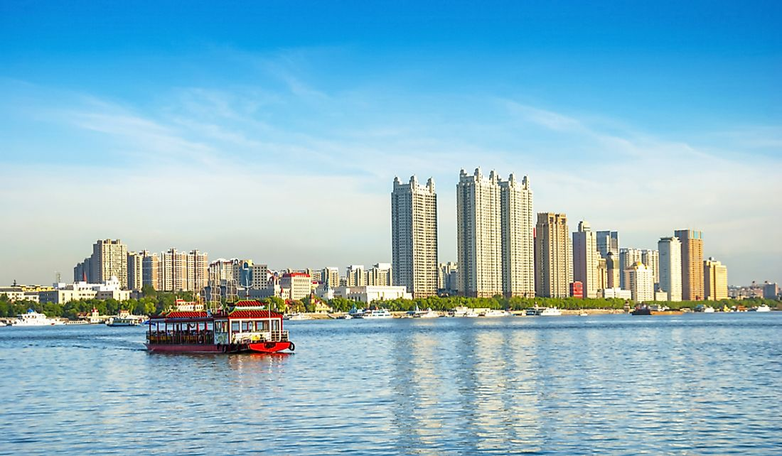 Harbin sits on the south bank of the Songhua River.