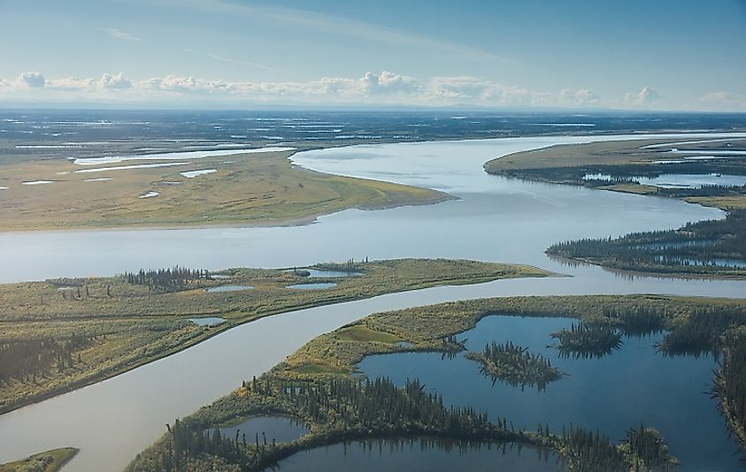 The Mackenzie River near its mouth along the Northwest Territories Arctic Ocean coast.