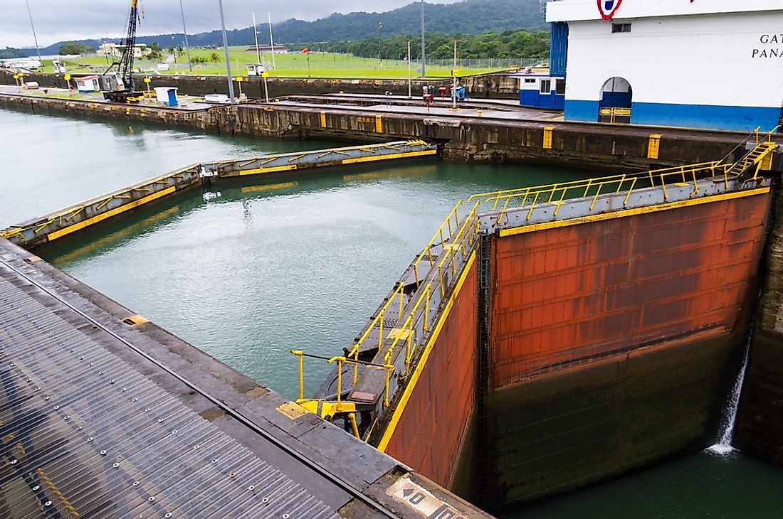 The Gatun Locks on the Panama Canal.