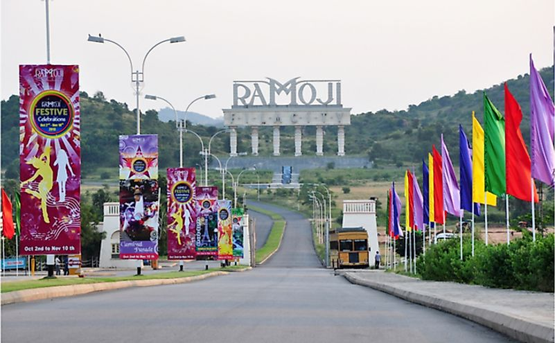 Entrance of Ramoji Film City at Hayathnagar. At 1666 acres, it is the largest integrated film city in the world. Editorial credit: Joe Ravi / Shutterstock.com