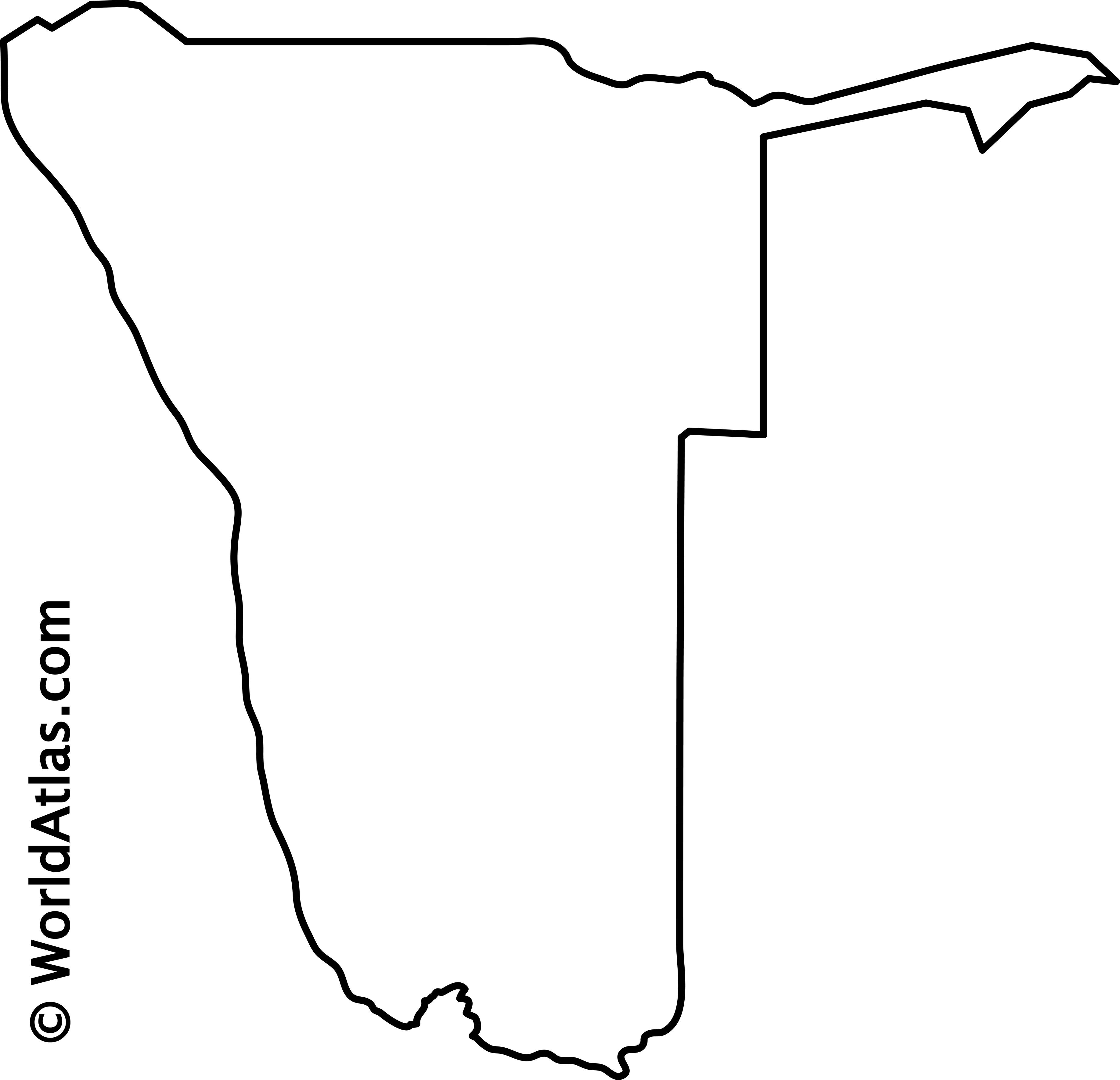 Blank Outline Map of Namibia