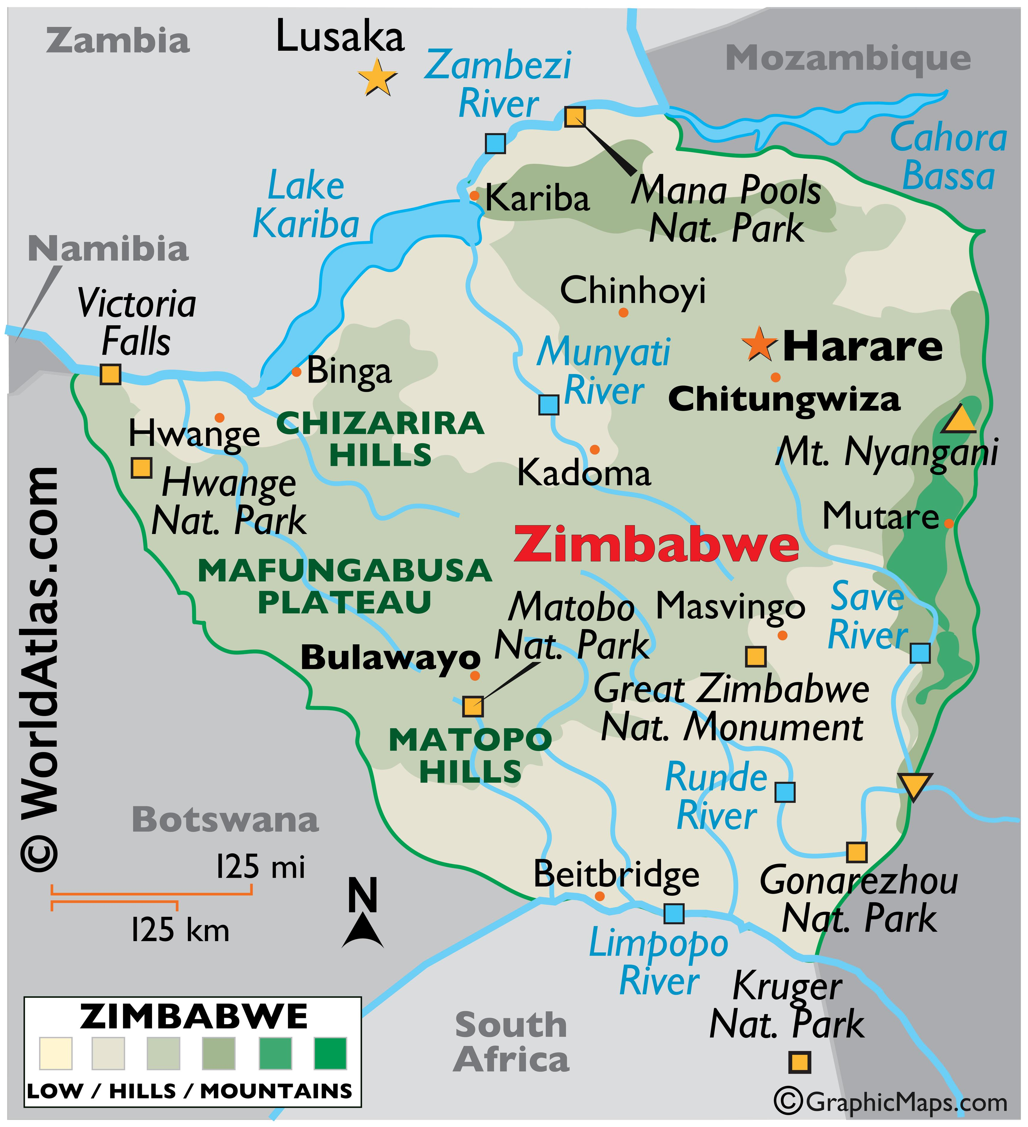 Physical Map of Zimbabwe showing the physical features of the country including mountain ranges, rivers, major lakes, and important protected areas.