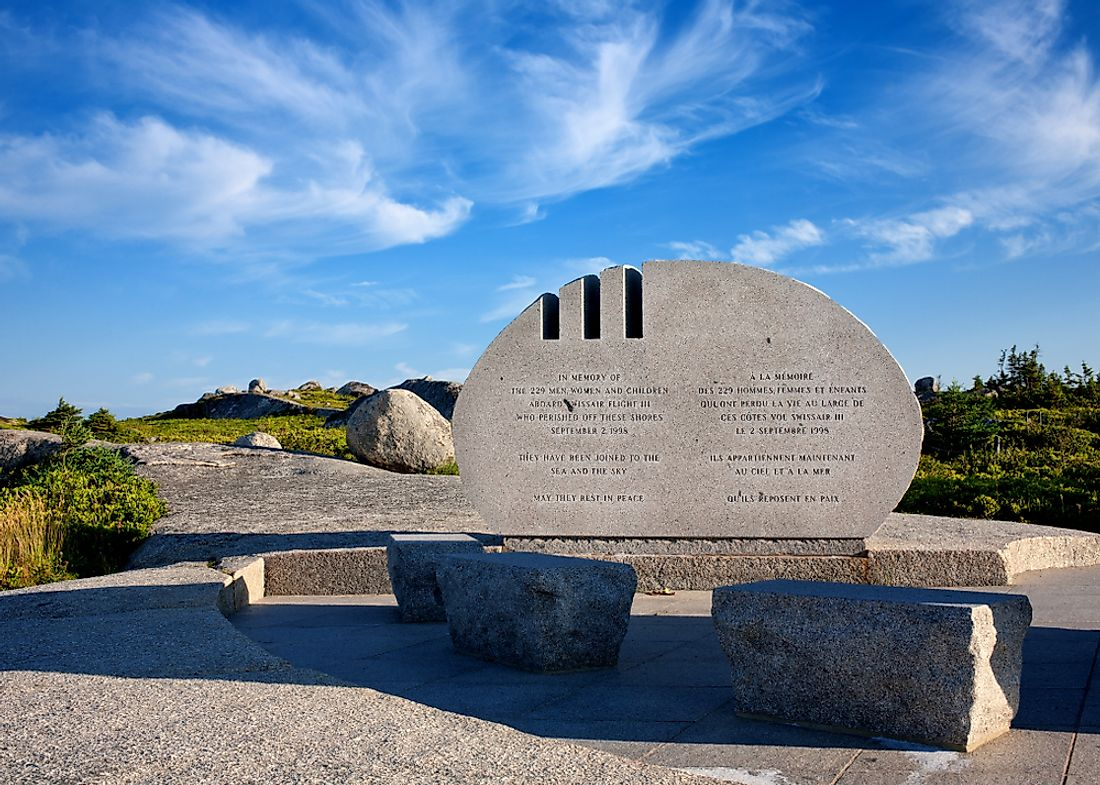 A monument to the victims of Swissair Flight 111, one of the worst disasters in Canadian History. Editorial credit: kevin brine / Shutterstock.com.