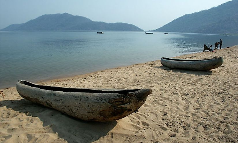 A morning scene at Lake Malawi in Africa.