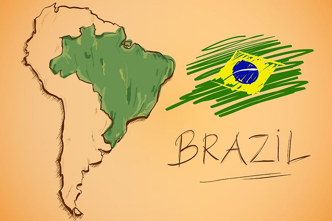 Brazil occupies much of the continent of South America.