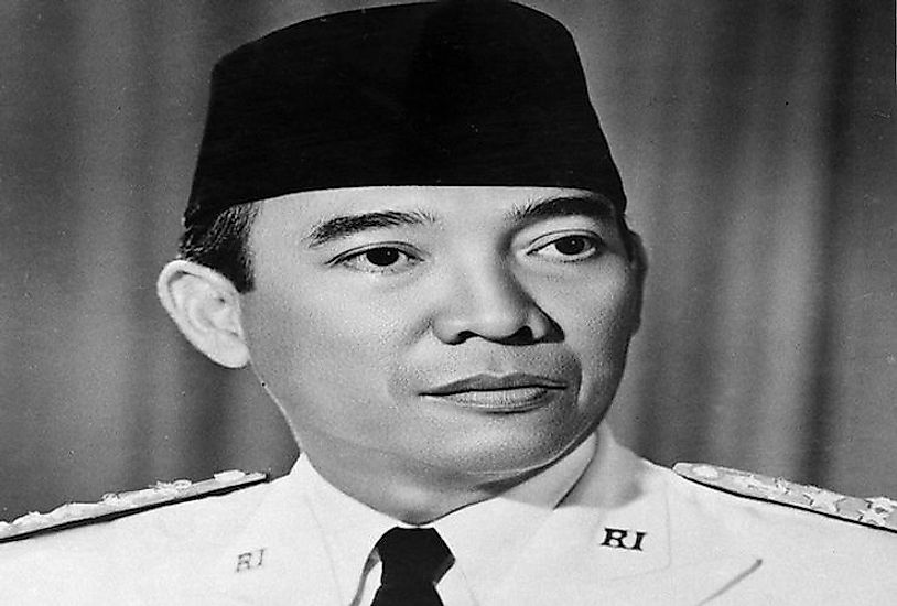 An official portrait of former Indonesian President Sukarno