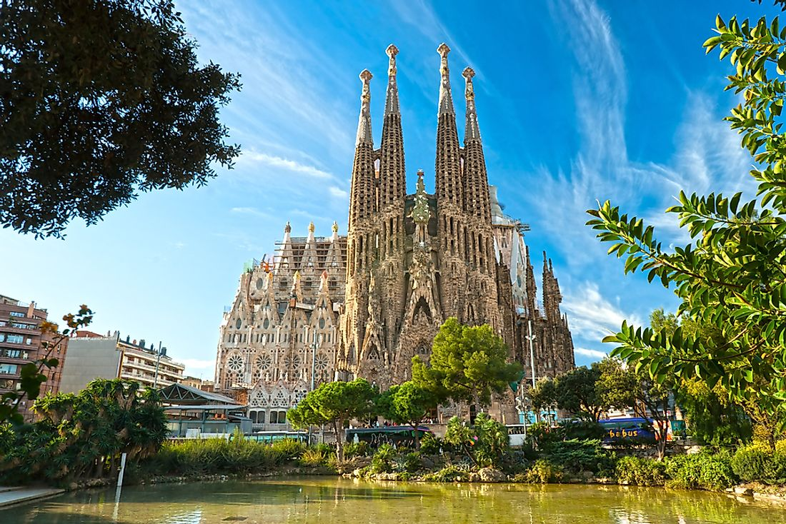 Barcelona's Sagrada Familia Basilica and Cathedral, one of Spain's most iconic Roman Catholic churches. Editorial credit: Luciano Mortula - LGM / Shutterstock.com.
