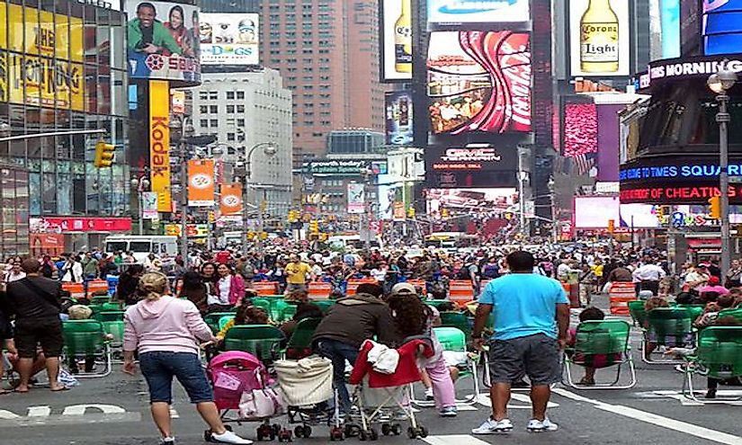 Times Square in New York City always remains crowded with visitors from around the world.