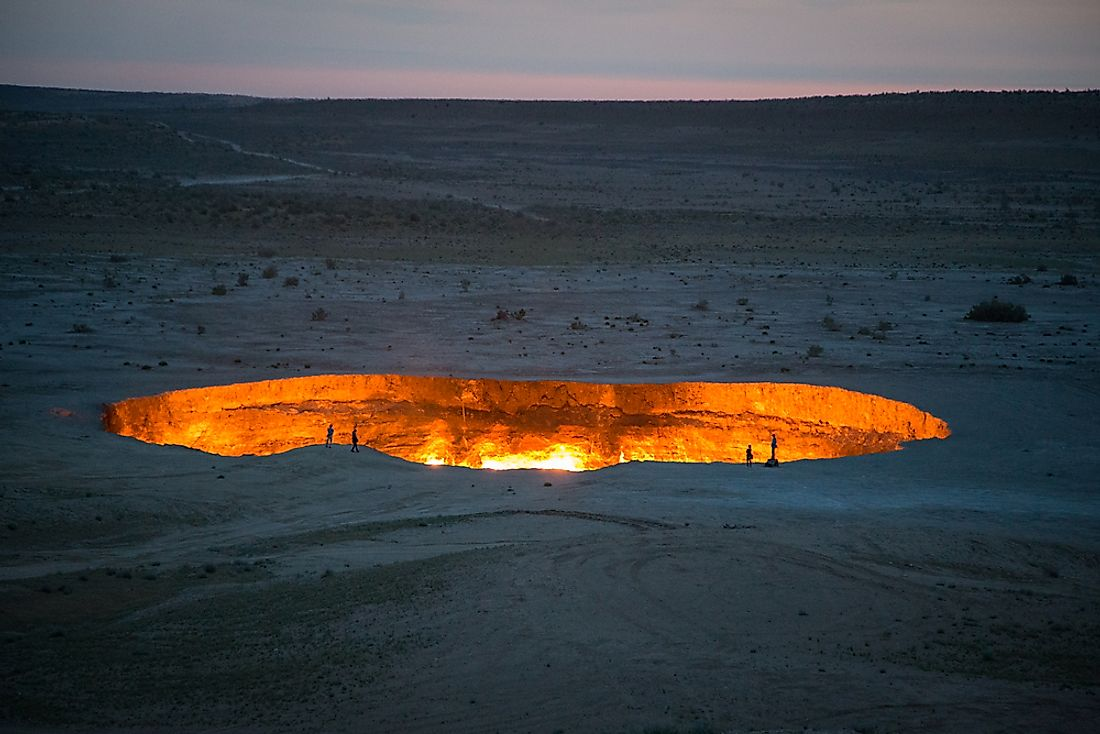 The famous Derweze Gas Crater in Turkmenistan.