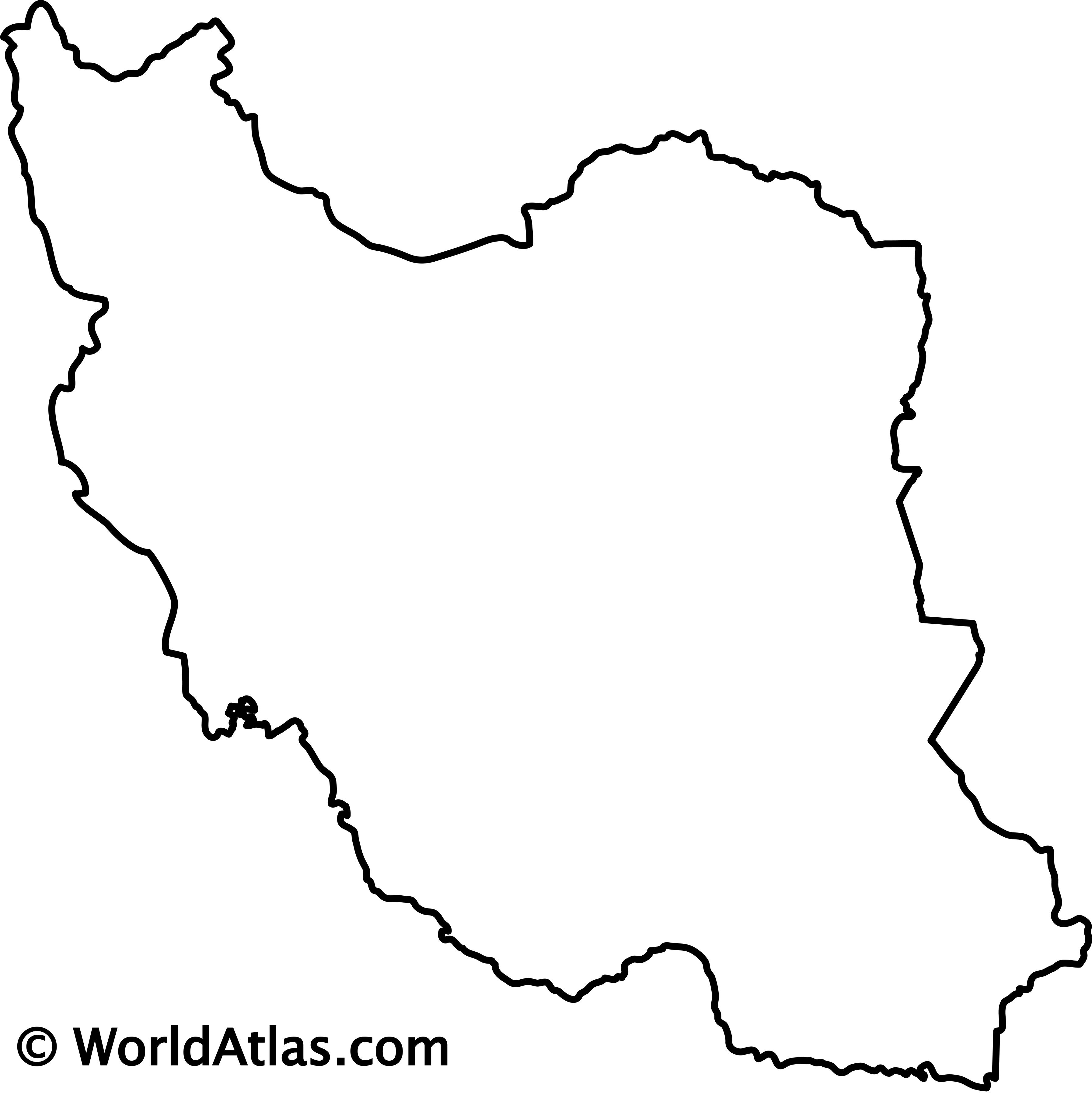 Blank Outline Map of Iran