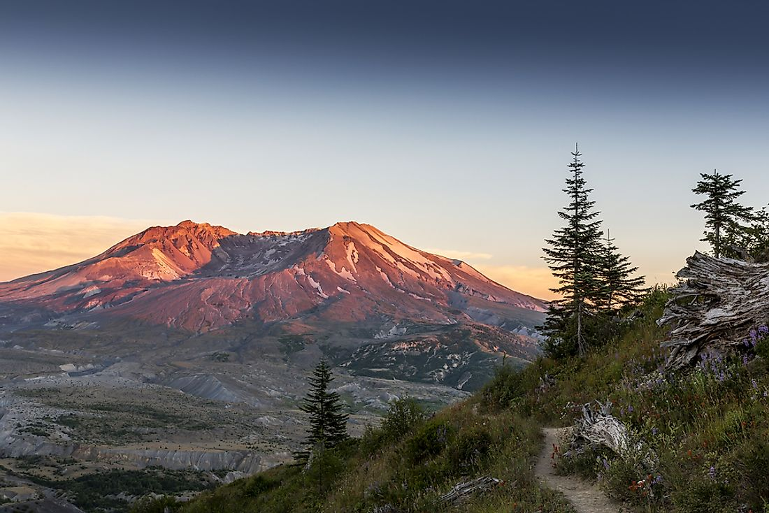 Mount St. Helens in the US state of Washington.