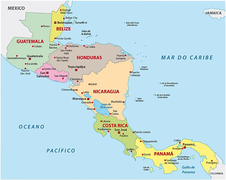 How Many Countries are in Central America?   WorldAtlas.com