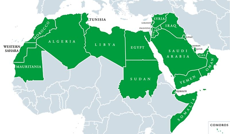 A map showing the Arab world, where Arabic is the primary language.