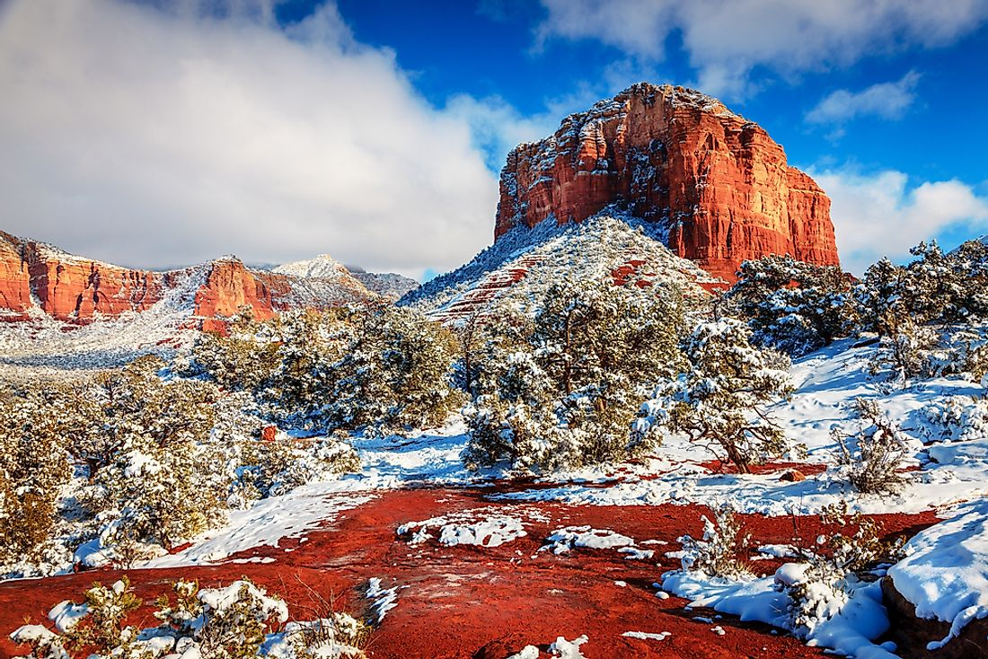 Snowfall at Courthouse Butte in Sedona, Arizona.