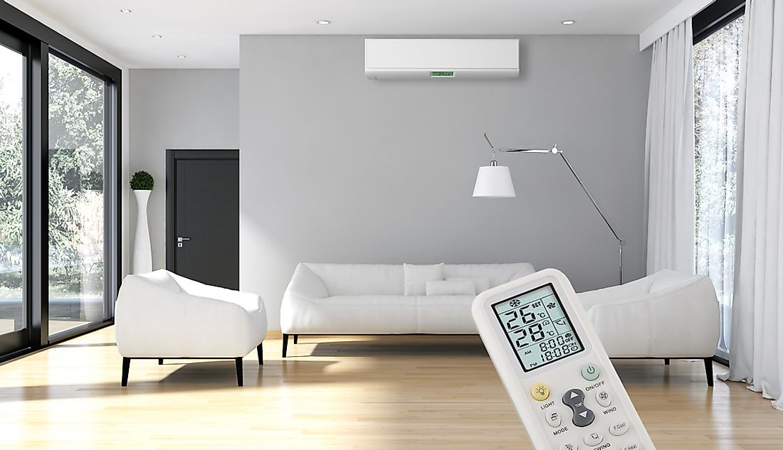 Air conditioners distribute cooled air throughout a building or vehicle.