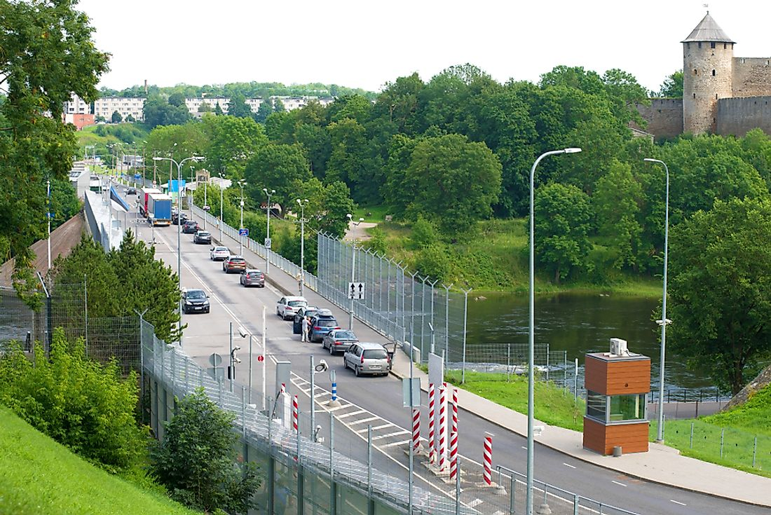 The border crossing between Russia and Estonia. Editorial credit: Karasev Victor / Shutterstock.com.