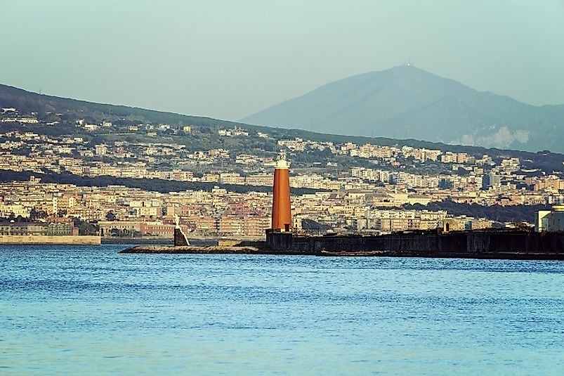 Naples, Italy as seen from offshore on the Tyrrhenian Sea.
