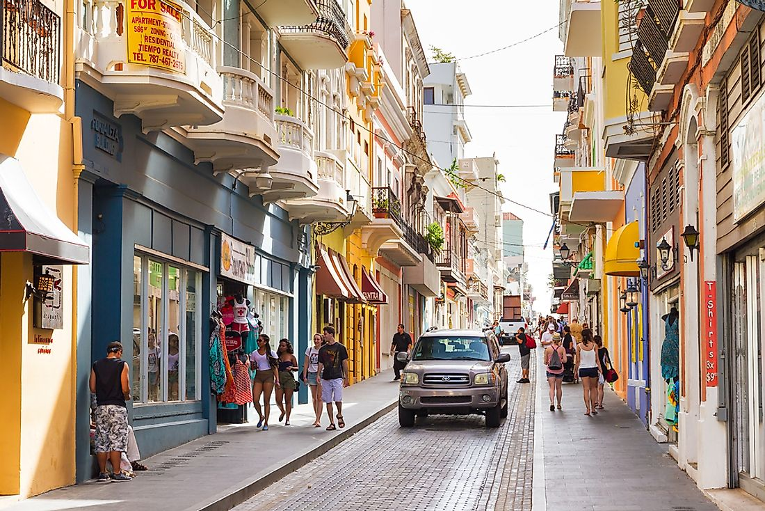 Shoppers on a street in San Juan. Editorial credit: Dennis van de Water / Shutterstock.com.