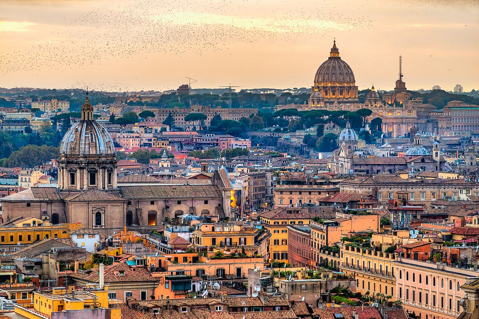 The skyline of Rome, the most populated city of Italy.