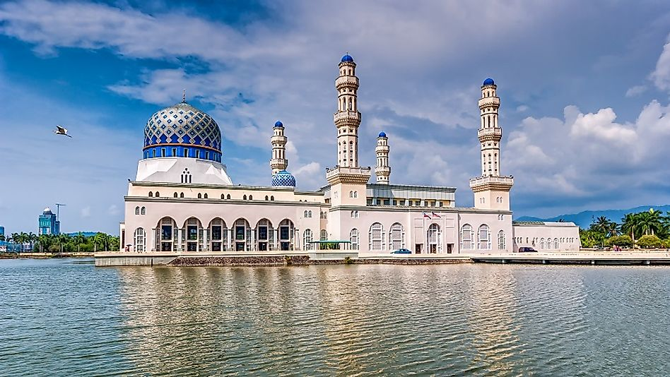 "The Kota Kinabalu ""Floating Mosque"" on its man-made lagoon in the Malaysian state of Sabah on Borneo."