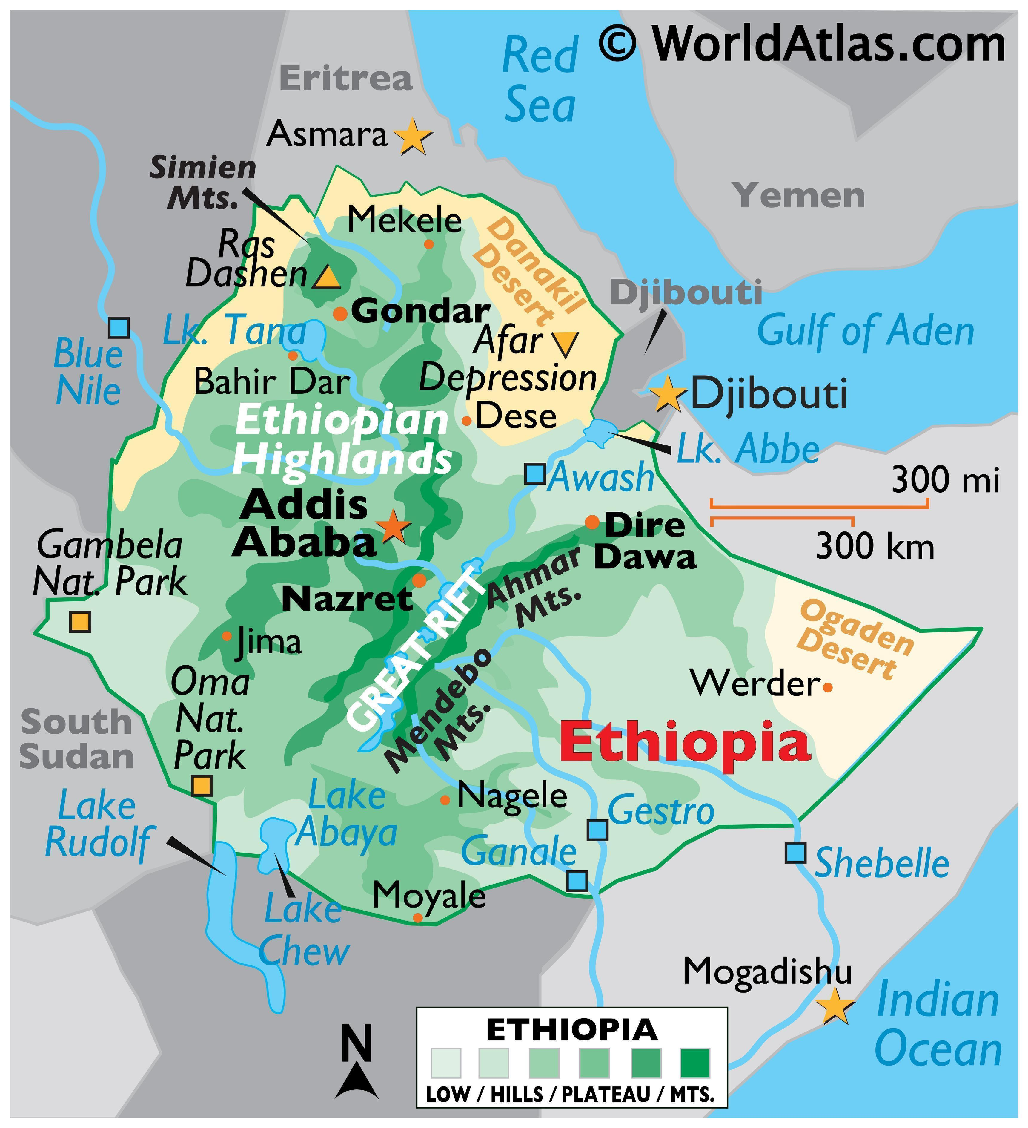 Physical Map of Ethiopia with state boundaries, relief, extreme points, major lakes and rivers, and important cities.