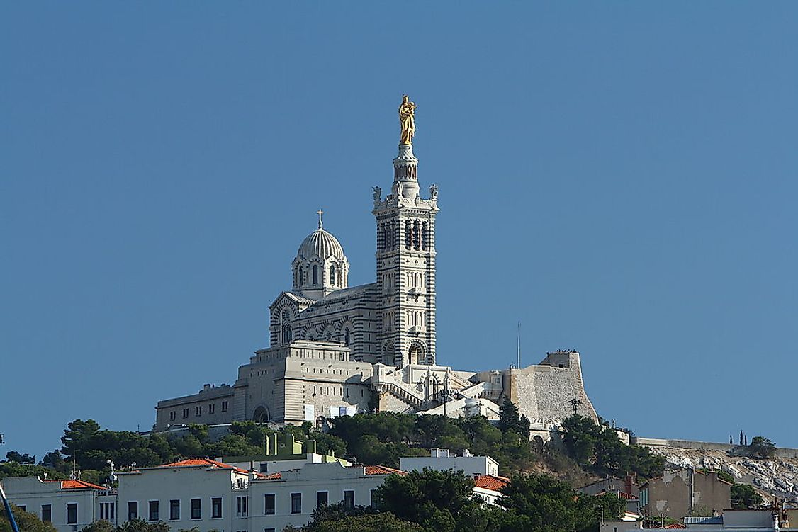 Notre-Dame de la Garde in Marseille. Catholic Christianity is the largest religion in France.