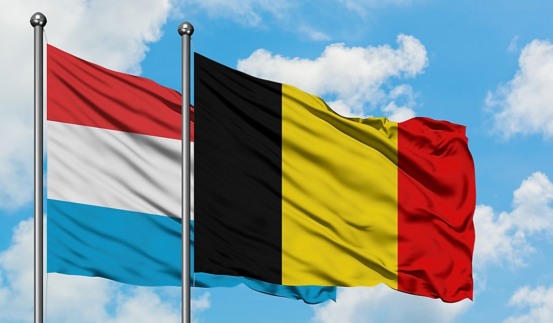 Flags of Luxembourg and Belgium.