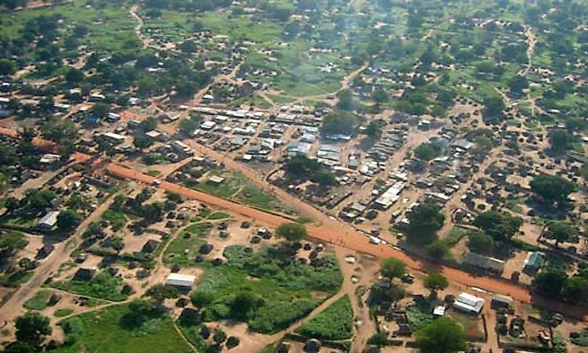 An aerial view of Juba, the capital city of South Sudan.