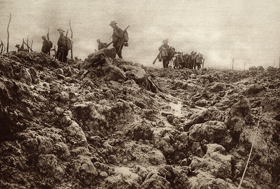 A battleground during World War One. Battlegrounds were known for their horrendous conditions that habored diseases.