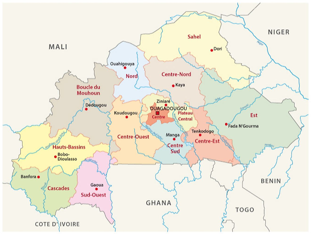 Political map of Burkina Faso displaying its 13 regions, their capitals, and the national capital of Ouagadougou.