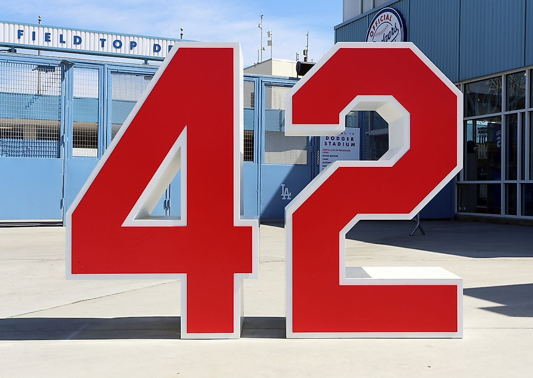 A monument commemorating Jackie Robinson's retired jersey number outside Dodger Stadium in Los Angeles. Editorial credit: Katherine Welles / Shutterstock.com