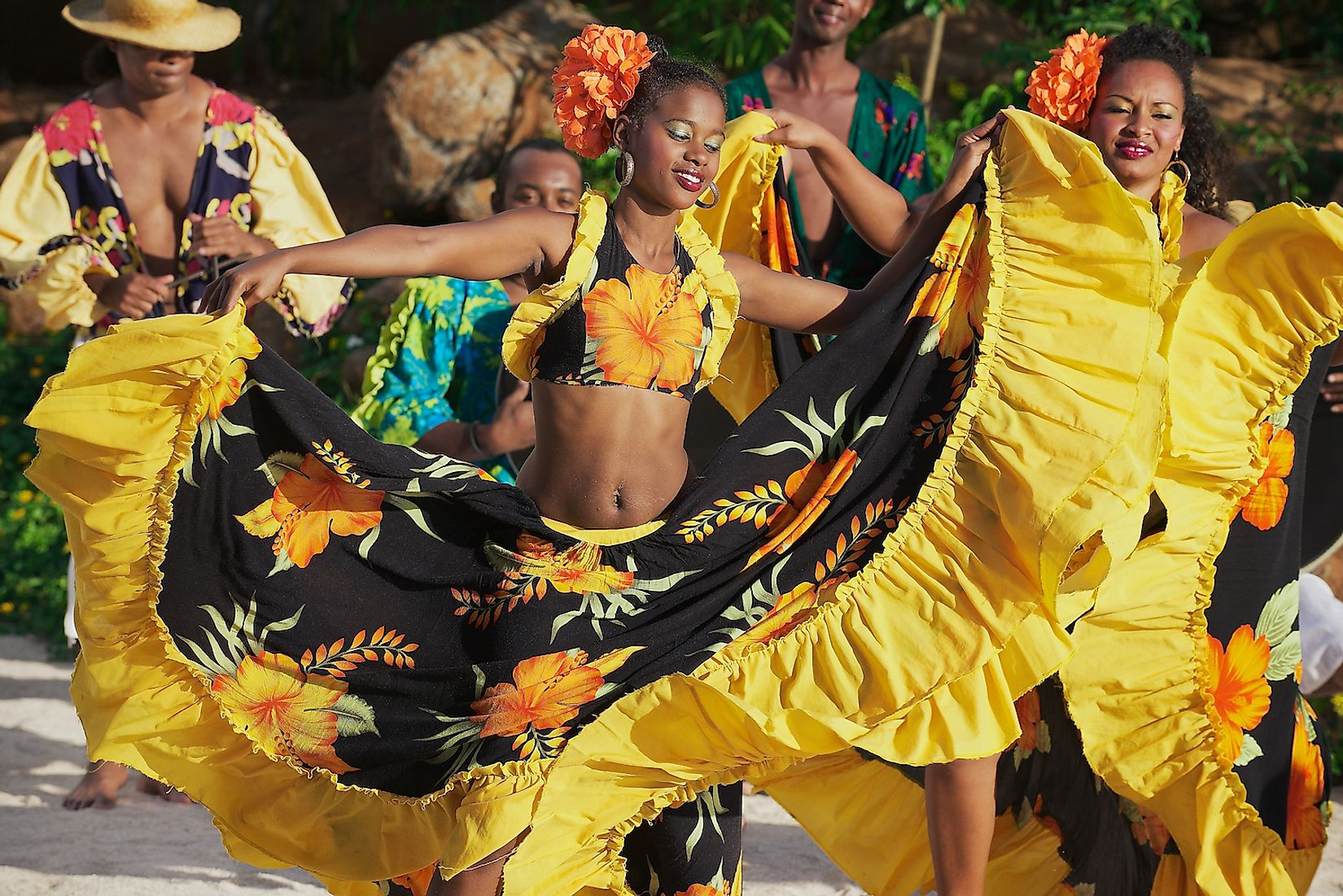 Traditional creole Sega dance at sunset in Ville Valio, Mauritius. Image credit: Dmitry Chulov/Shutterstock.com