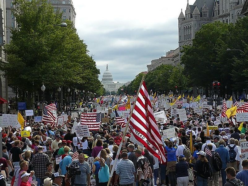 Tea Party protesters descend upon the U.S. National Capitol in Washington, D.C. to voice their unhappiness with current tax laws in the United States.
