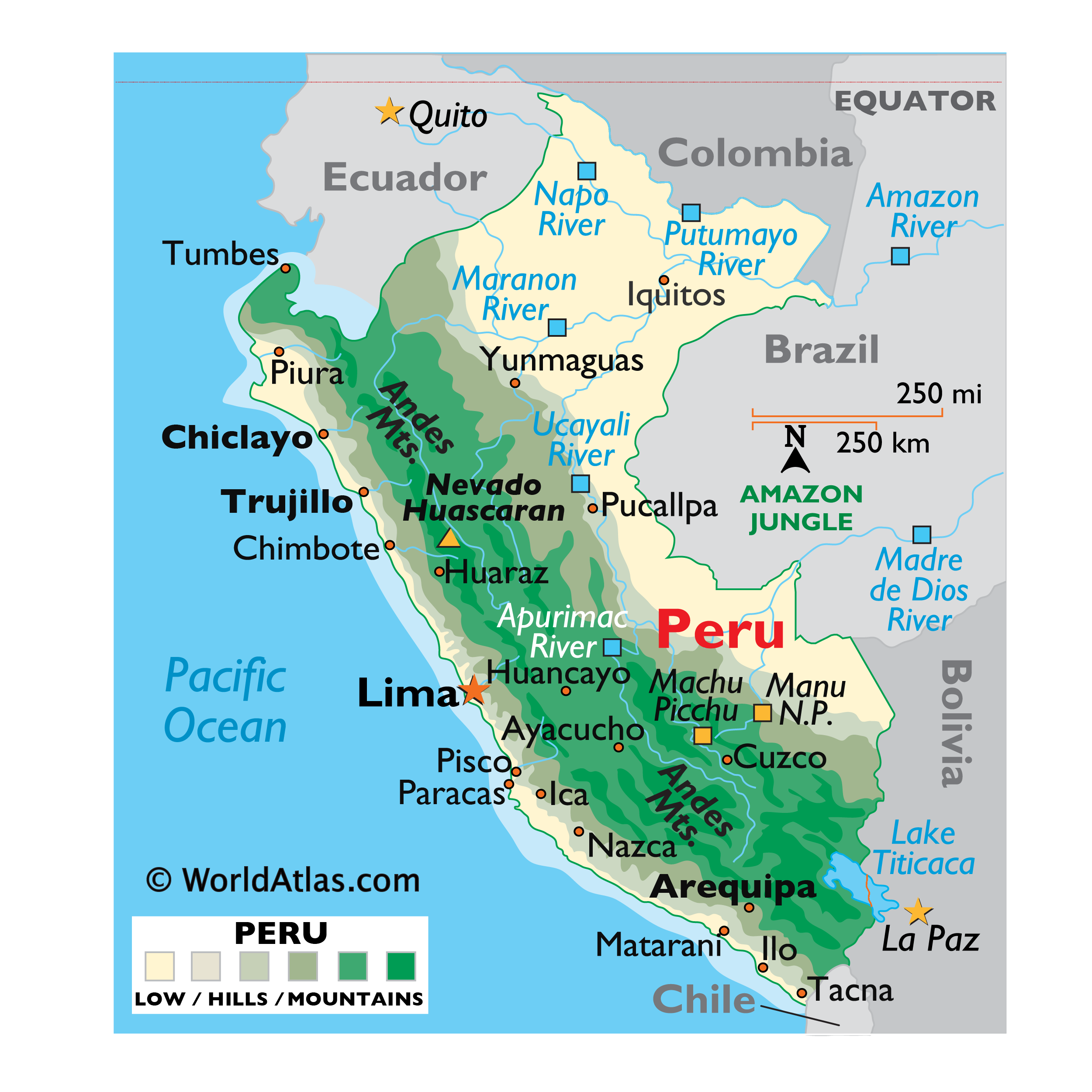 Physical Map of Peru showing relief, mountains, major rivers, Lake Titicaca, important cities, neighbouring countries, etc.