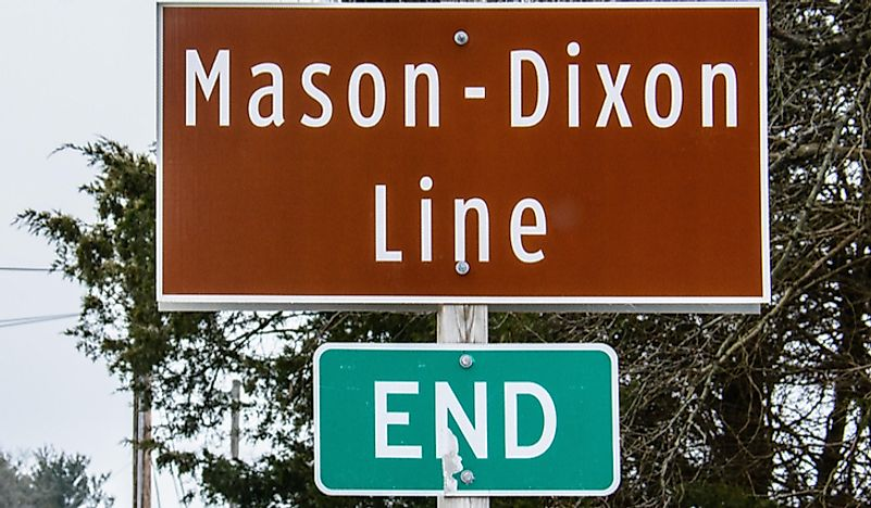 A sign showing the end of the Mason-Dixon line.
