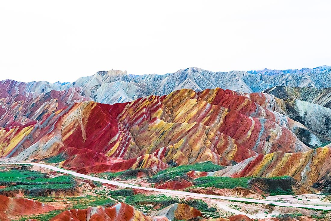 Rainbow-colored hills and rock formations in Zhangye Danxia.