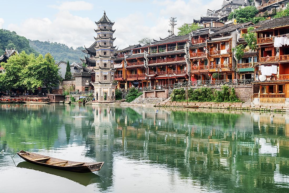 Since the rise of Communism there in the 1940s, many traditional Chinese temples, such as this pagoda in Fenghuang, have become more historical than practical.