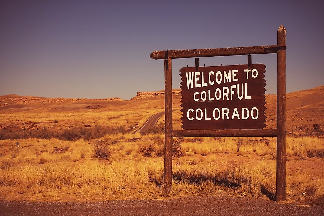 """Welcome to Colorado"" sign."