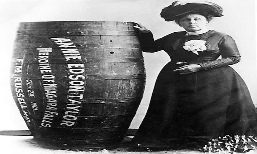 Annie Edson Taylor, the first person who'd survived a trip over Niagara Falls in a barrel on 24 October 1901.