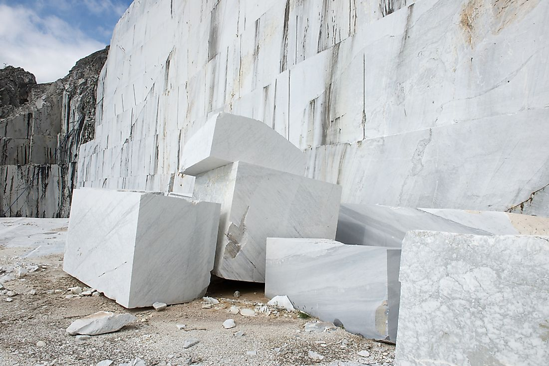 Slabs of Carrara marble in a marble quarry in Carrara, Italy.