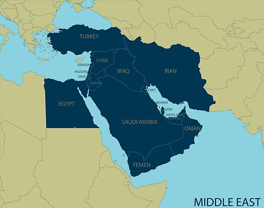 where is bahrain located on a middle east map What Are The Middle Eastern Countries Worldatlas where is bahrain located on a middle east map