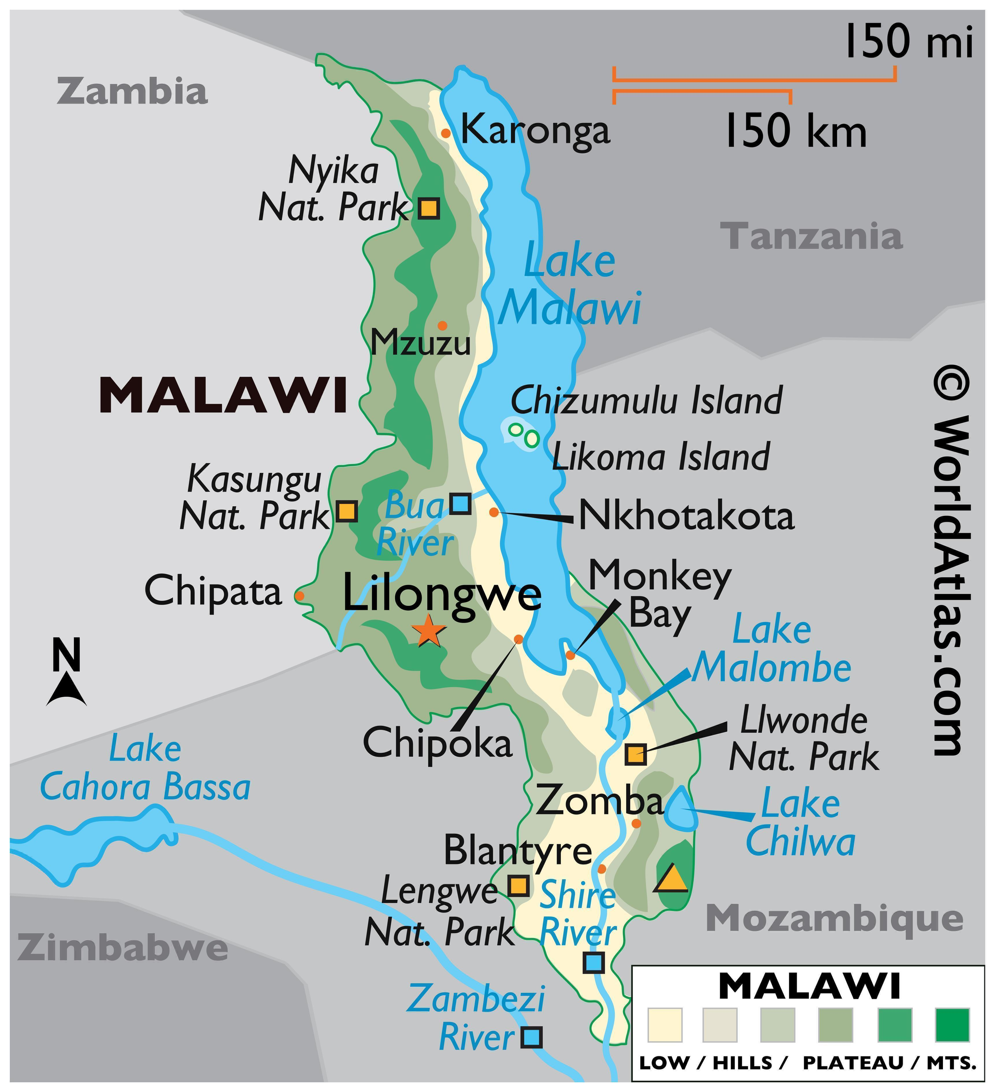 Physical Map of Malawi displaying state boundaries, relief, highest point, important cities, Lake Malawi, and major rivers.