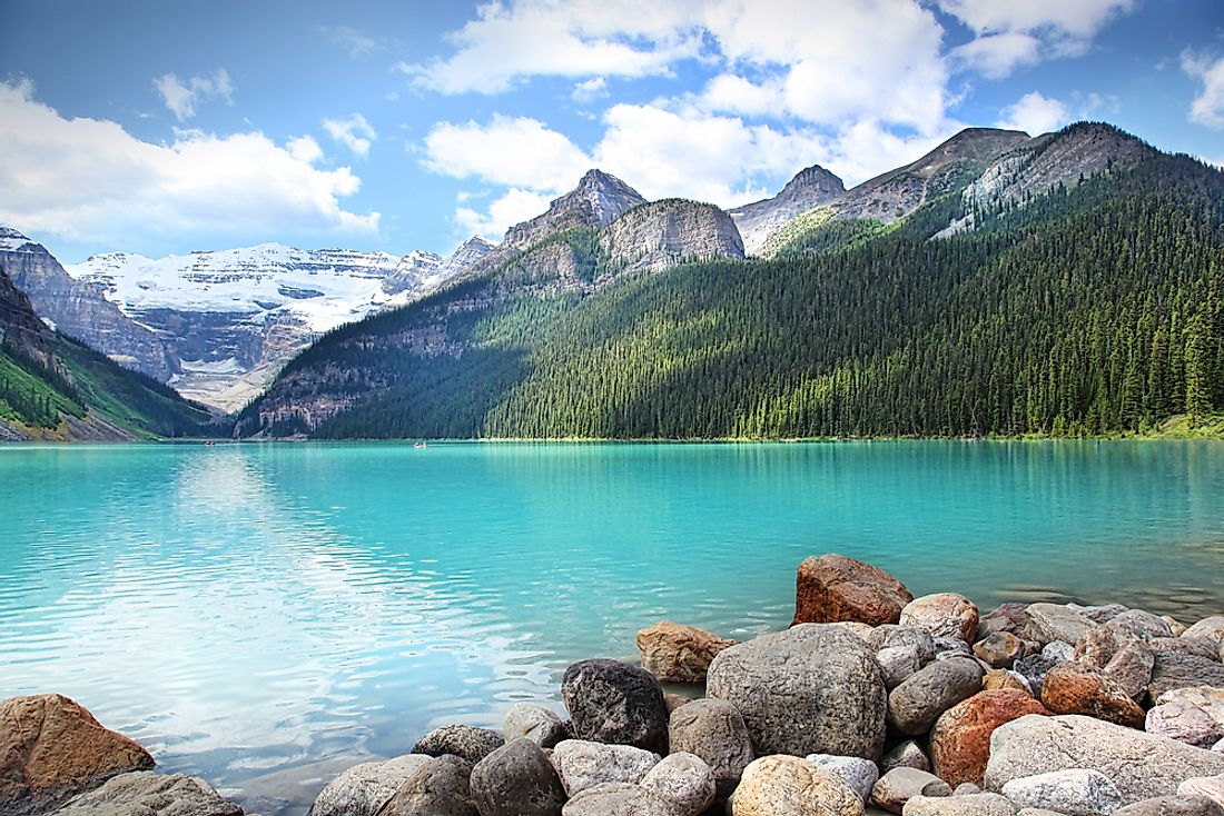 Stunningly turquoise Lake Louise in the Banff National Park, Alberta, Canada.