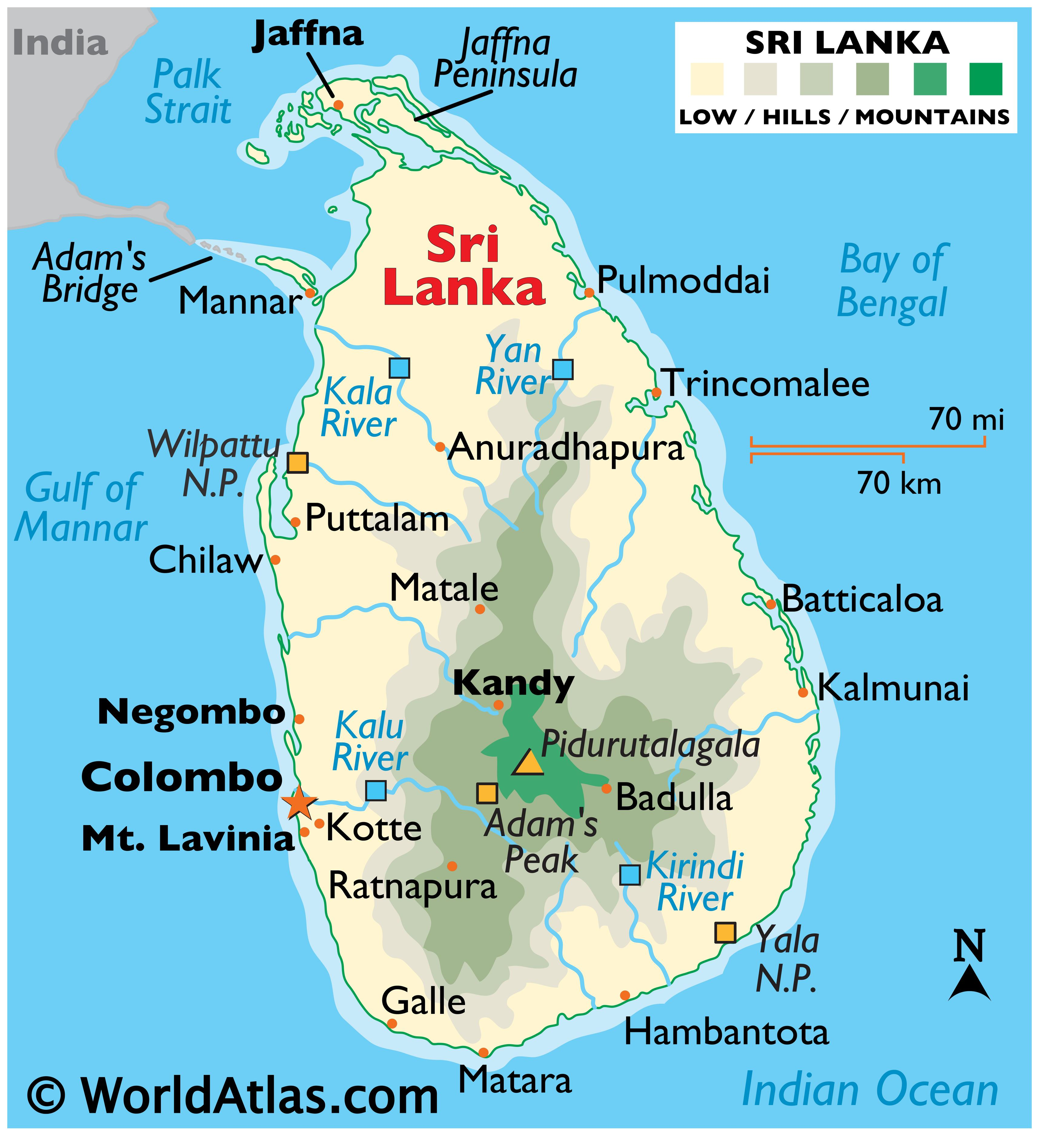 Physical Map of Sri Lanka showing state boundaries, relief, major rivers, highest point, important cities, national parks, and more.