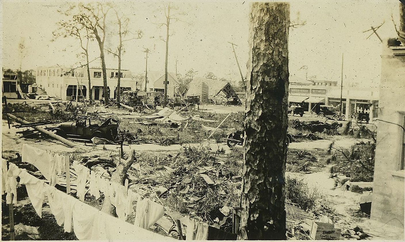 Damage in Florida in the aftermath of the 1928 Okeechobee hurricane. Image credit: Roy Senff (1890-1963)/Public domain
